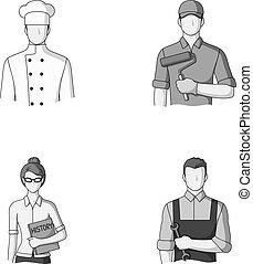 Cook, painter, teacher, locksmith mechanic.Profession set collection icons in monochrome style vector symbol stock illustration .