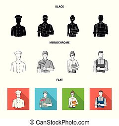 Cook, painter, teacher, locksmith mechanic.Profession set collection icons in black, flat, monochrome style vector symbol stock illustration web.