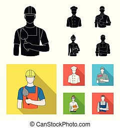 Cook, painter, teacher, locksmith mechanic.Profession set collection icons in black, flat style vector symbol stock illustration web.