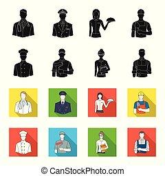 Cook, painter, teacher, locksmith mechanic.Profession set collection icons in black,flet style vector symbol stock illustration web.