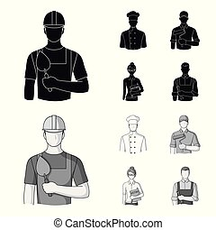 Cook, painter, teacher, locksmith mechanic.Profession set collection icons in black,monochrom style vector symbol stock illustration web.