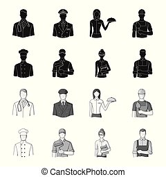 Cook, painter, teacher, locksmith mechanic.Profession set collection icons in black,monochrome style vector symbol stock illustration web.