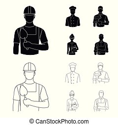 Cook, painter, teacher, locksmith mechanic.Profession set collection icons in black,outline style vector symbol stock illustration web.