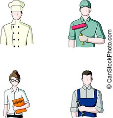 Cook, painter, teacher, locksmith mechanic.Profession set collection icons in cartoon style vector symbol stock illustration web.