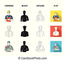Cook, painter, teacher, locksmith mechanic.Profession set collection icons in cartoon,black,outline,flat style vector symbol stock illustration web.