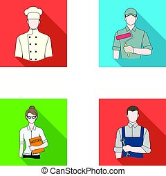 Cook, painter, teacher, locksmith mechanic.Profession set collection icons in flat style vector symbol stock illustration web.