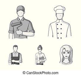 Cook, painter, teacher, locksmith mechanic.Profession set collection icons in monochrome style vector symbol stock illustration web.