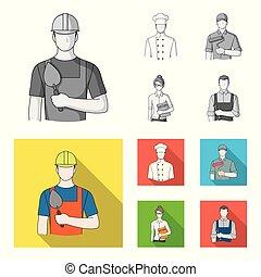 Cook, painter, teacher, locksmith mechanic.Profession set collection icons in monochrome,flat style vector symbol stock illustration web.