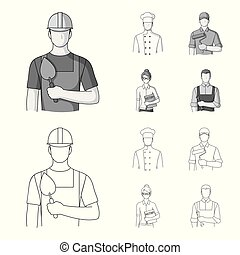 Cook, painter, teacher, locksmith mechanic.Profession set collection icons in outline,monochrome style vector symbol stock illustration web.