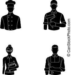 Cook, painter, teacher, locksmith mechanic.Profession set collection icons in black style vector symbol stock illustration web.