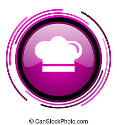 Cook pink glossy web icon isolated on white background