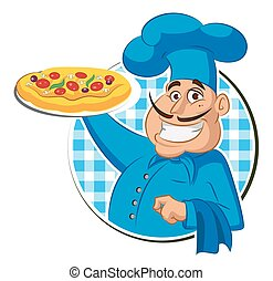 Cook pizza. Chef Isolated on a white background