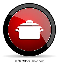 cook red circle glossy web icon on white background - set440