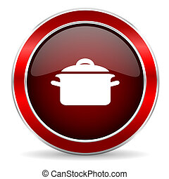 cook red circle glossy web icon, round button with metallic border