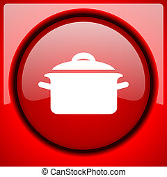 cook red icon plastic glossy button