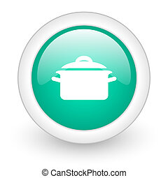 cook round glossy web icon on white background