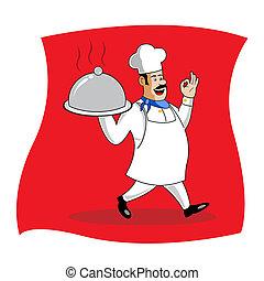 cook serving food - illustration of cook serving food
