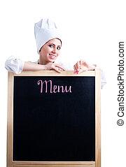 cook show menu - Happy woman cook show menu blackboard,...