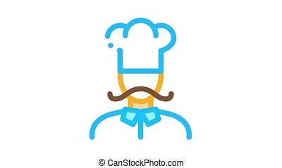 Cook Silhouette Icon Animation. color Cook Silhouette animated icon on white background