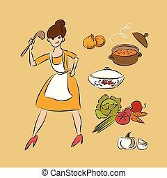 cook soup vector illustration sketch doodle isolated design elements