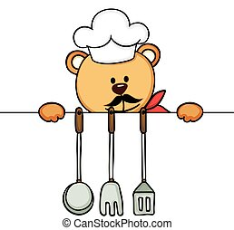 Cook teddy bear with kitchen utensils
