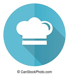 Cook vector icon, flat design blue round web button isolated on white background
