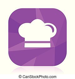 Cook violet square vector web icon. Internet design and webdesign button in eps 10. Mobile application sign on white background.