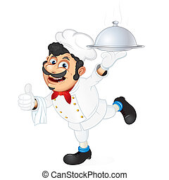 Chef with Food Serving Tray, cartoon vector illustration