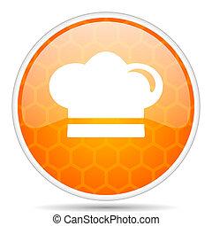 Cook web icon. Round orange glossy internet button for webdesign.