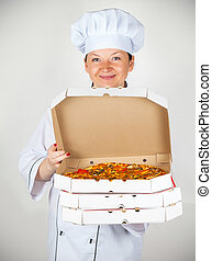 cook with a pizza