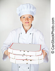 cook with a pizza in the box
