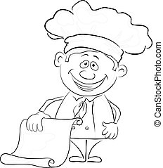 Cook with blank for your text, outline