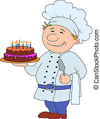 Cook with cake - Cook with pie, restaurant waiter with cake,...