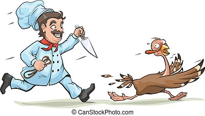 Cook with knife pursues turkey - Cook with knife pursues...