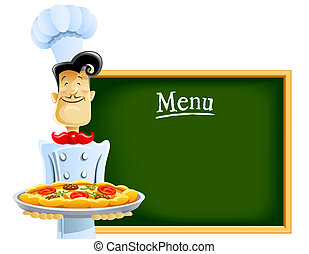 cook with pizza and menu