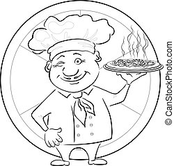 Cook with pizza, outline - Cartoon cook - chef with...
