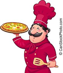 Cook with pizza. Traditional italian food. Cartoon character