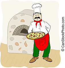 Cook with pizza.