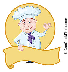 Cartoon cook - chef with poster showing ok hand sign