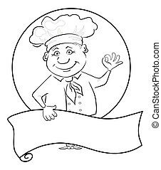 Cook with poster, outline