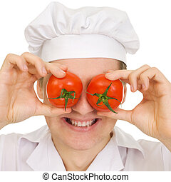 Cook with red tomato instead eyes on a white background