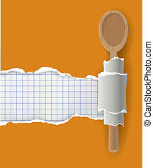 Vector illustration ripped paper with bottom layer for your image or text, with wooden spoon.