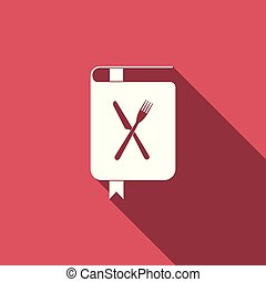 Cookbook icon isolated with long shadow. Cooking book icon. Recipe book. Fork and knife icons. Cutlery symbol. Restaurant symbol. Vector Illustration