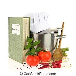cookbook, legumes, e, casserole, isolado, branco