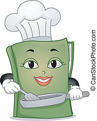 Mascot Illustration Featuring a Toque-Wearing Cookbook Holding a Frying Pan