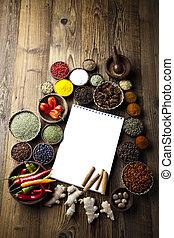 cookbook, vário, temperos