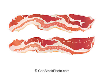 Cooked bacon strips for continental breakfast isolated