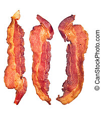 Cooked bacon strips - Three cooked, crispy fried bacon...