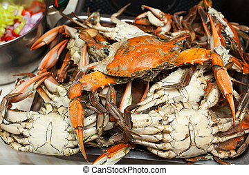 Cooked blue crabs