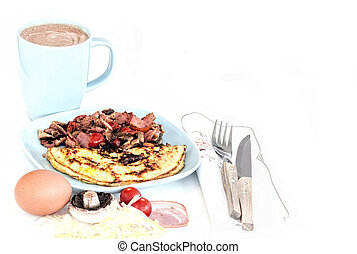 Cooked Breakfast and Ingredients with a Coffee